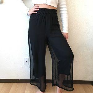 90s Sheer Wide Leg Gypsy Gaucho Harem Pants